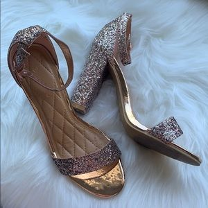 BAMBOO Glitter Strappy heels Frenzy 6.5 rose gold